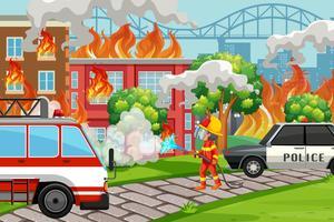 Um, bombeiro, ajudando, serviço vetor