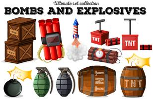 Bombas e objetos explosivos vetor