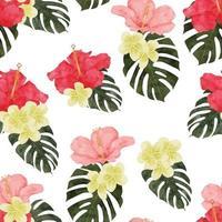 aquarela tropical hibisco flor padrão sem emenda vetor