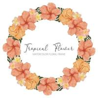 aquarela verão tropical hibisco moldura grinalda de flores vetor