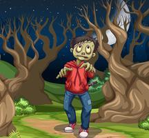 Zumbi na floresta escura vetor