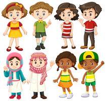 Grupo de caráter internacional de crianças vetor