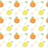 padrão sem emenda com frutas. padrão de limão e laranja em um fundo branco. vetor