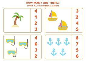 contando o jogo com elementos de verão dos desenhos animados. planilha de matemática. vetor