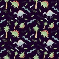 padrão sem emenda com dinossauros bonitos e árvores em um fundo escuro. textura infinita de vetor com estilo cartoon para design infantil