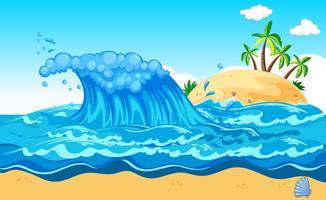 Uma enorme onda uma ilha vetor