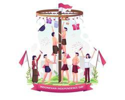 os indonésios estão competindo pela escalada em pinang para celebrar o dia da independência da Indonésia em 17 de agosto. ilustração vetorial vetor