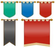 Bandeiras medievais em cores diferentes vetor