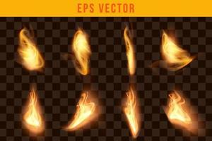 fogo conjunto efeito realista eps vetor editável brilho brilho incêndios objeto isolado