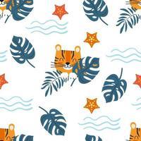 mar sem costura padrão bonito dos desenhos animados tigre de personagem entre folhagens exóticas. ilustração vetorial infantil. vetor