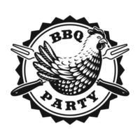 um distintivo de comida vintage com uma galinha vetor