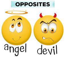 Personagem oposta para anjo e demônio vetor