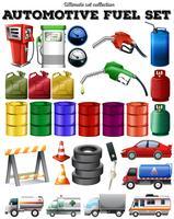 Transporte diferente e gasolina vetor