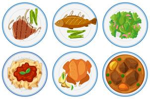 Diferentes tipos de comida nas placas vetor