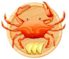 Um, carangueijo, ligado, madeira, prato vetor
