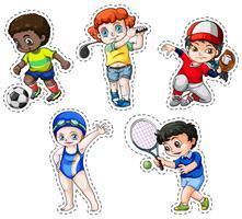 Conjunto de adesivos de crianças praticando esportes vetor