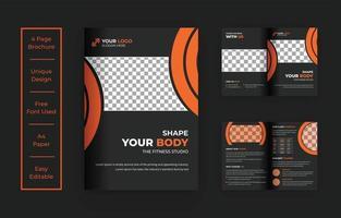 design de modelo de brochura de fitness ginásio b-fold vetor