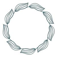 ilustração em vetor moldura folha azul circular simples