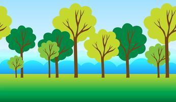 Plano de fundo sem emenda com árvores no parque vetor