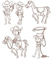 Vaqueiros masculinos e femininos vetor