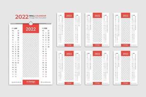 calendário de parede 2022 planejador anual com calendário de todos os meses da escola e da empresa vetor