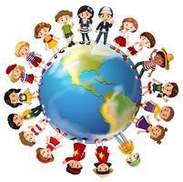 Crianças de muitos países ao redor do mundo vetor