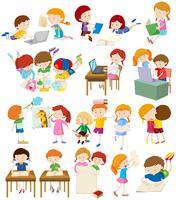 Crianças fazendo atividades na escola vetor