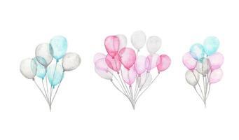 balões de ar em aquarela. pacote de balões de festa rosa, azuis e brancos. vetor