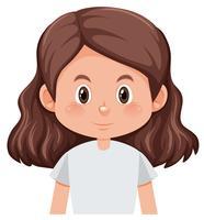 Uma personagem feminina em fundo branco vetor