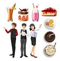 Pessoas trabalhando no restaurante e diferentes sobremesas e bebidas