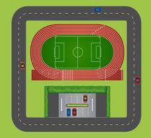 Vista aérea da pista de esportes vetor