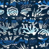 Padrão sem emenda de vetor mar com texturas de mão desenhada.