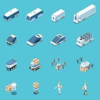 ilustração vetorial coleção de ícones de veículos não tripulados vetor