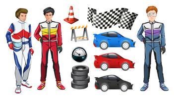Carros de corrida e três pilotos vetor