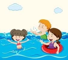 Crianças nadando no mar vetor