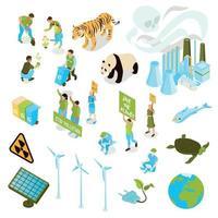 ilustração vetorial conjunto de ícones de poluição de ecologia isométrica vetor