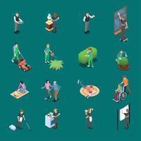 ilustração em vetor ícones isométricos para funcionários domésticos