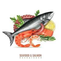 ilustração vetorial de composição realista de salmão de frutos do mar vetor