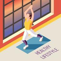 ilustração em vetor fundo isométrico estilo de vida saudável