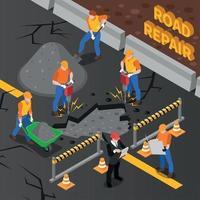 ilustração em vetor composição isométrica conserto de estradas