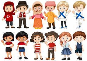 Crianças de diferentes países vetor