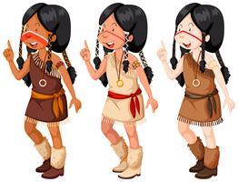 Meninas indianas americanas nativas em traje tradicional vetor
