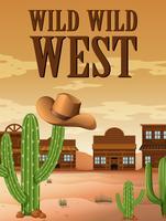 Cartaz oeste selvagem com edifícios no deserto
