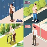 ilustração em vetor conceito design 2x2 gerações diferentes