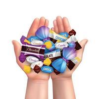 ilustração vetorial de composição de pilha de doces realista vetor