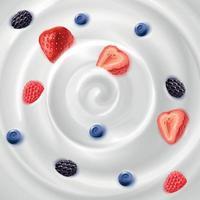 Ilustração vetorial de creme de iogurte com geléia de fundo realista vetor