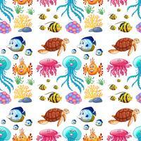 Diversão padrão sem emenda da vida marinha vetor