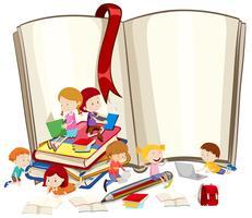 Crianças, leitura, livros, junto vetor