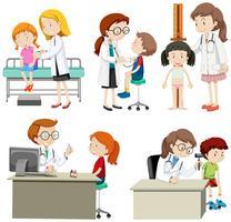 Um conjunto de crianças check-up
