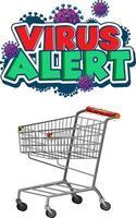 design de fonte de alerta de vírus com carrinho de compras vetor